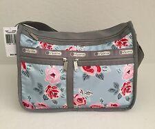 LeSportsac 7507 Deluxe Everyday Purse Shoulder Bag Hobo Garden Sky Rose NWT