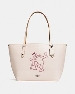 Coach X Keith Haring Chalk White Pebbled Leather Market Tote 28646