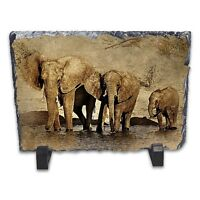 Elephant Watercolour Abstract Art Rock Slate Photo Frame - Rectangle