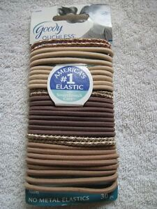 30 Goody Ouchless Rubber Elastic Ponytailer Hair Bands Thick 4mm White Shiny Tan