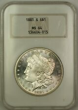 1881-S Morgan Silver Dollar Old NGC Raised Logo MS-64 Semi PL (Better Coin) (C)