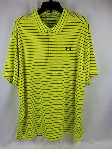 Under Armour Men Heatgear Yellow The Playoff Polo Golf Shirt 1327037 707 Sz 2XL