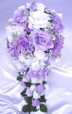 Wedding bouquets 21 piece package Bridal bouquet Silk flower LAVENDER SILVER