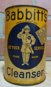 BABBITT'S CLEANSER 'At Your Service' Old Container Tin Made in USA Unopened