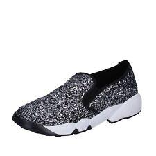 scarpe donna OLGA RUBINI 41 EU mocassini slip on argento glitter BX788-41