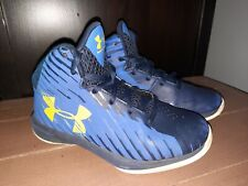Under Armour Size 13 k Boys Basketball High Tops Shoes two tone Blue Yellow