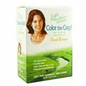 NEW Light Mountain Natural Hennagray Dark Brown Botanical Hair Color 7 Ounce