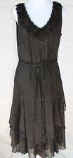 SIGNATURE BY ROBBIE BEE (M 12 L) Dress Black GOLD GLITTER Ruffle Neck Tier Skirt