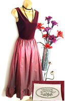 Rare Vintage LAURA ASHLEY Velvet Silk Port Red Long Maxi Dress Gown 14 16