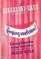 Circus Sarrasani Haus Dresden Programm 1940 Georg Mandt und Fredy Rolf