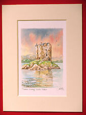 CASTLE STALKER LOCH LINNHE SCOTLAND CHARMING MOUNTED WATER COLOUR PRINT 8 X 6