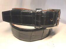 LAVA Men's Black Crocodile Leather Belt Size 28 (70 CM) Nickel Buckle #C291 EUC