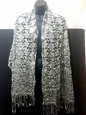 Silver Sequin Lace Paisley Swirl Floral Design Elegant Scarf Shawl Wrap NEW