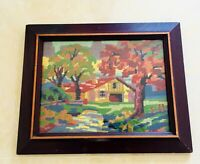 Vintage Needlepoint Finished Framed Cross Stitch Wood Wall Hanging Forest House