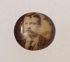 Teddy Roosevelt Black & White Portrait Political Pin Pinback Celluloid Button