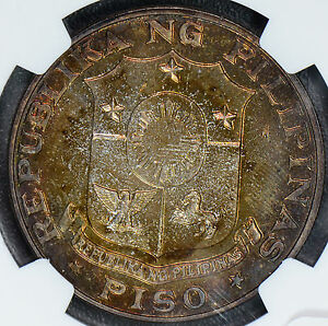 NG0354 Philippines 1969 Piso silver NGC PL64 prooflike stunning toning! combine