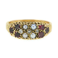 Victorian Ruby Pearl and Diamond Ring In 15ct Yellow Gold Circa 1879