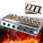 6 Burners LPG Gas BBQ Grill Stainless Steel Smokeless Grill Glass Shield Outdoor photo