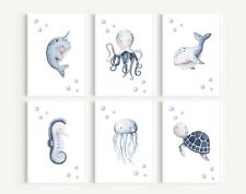 Under the Sea Prints, Wall Art, Nursery Pictures , Whale Picture, Baby Nursery
