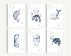 Under the Sea Prints, Wall Art, Nursery Pictures, Whale Picture, Baby Nursery