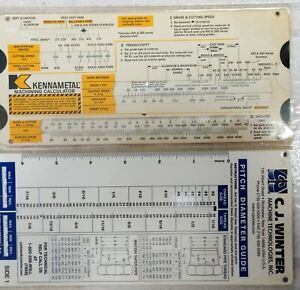 2 Slide Rules For machinists Plastic Covered paper  Excellent condition