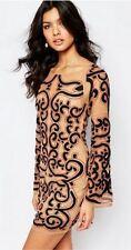NEW $299 For Love & Lemons Antonina Mini Dress (M) Sheer Mesh Embroidery