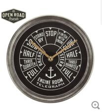 Ship Throttle Metal Wall Clock Vintage Inspired Nautical Ship Home & Cabin Decor