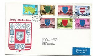 Jersey 1976 FDC Part set 7 Definitives FDI 29 Aug 1976 Jersey addressed to PNG