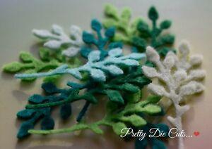Felt Foliage (10) Die Cut Felt Green Shaded Leaves, Craft Embellishments