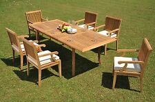 """DSSK Grade-A Teak 7 pc Dining 94"""" Rectangle Table Arm Chair Set Outdoor Patio"""