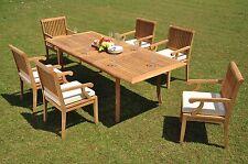"Sack Grade-A Teak 7 pc Dining 94"" Rectangle Table Arm Chair Set Outdoor Patio"