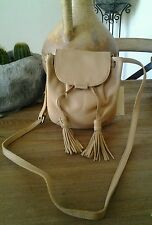 NWT Lucky Brand Authentic Jordan Leather Mini Crossbody Purse Natural MSRP $148