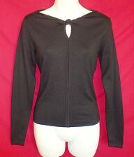 Carlisle Sz P XS Stretch Silk Knit Fitted LS Top Black Boat Neck 17082107xsa