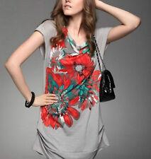 Floral Short Sleeve Polyester T-shirt by Moonbasa (S)