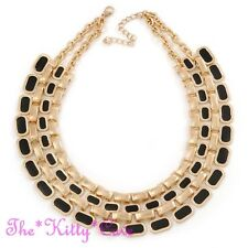 14K Gold Filled Black Enamel Cleopatra Pharaoh Statement Catwalk Collar Necklace