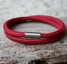 Armband Segeltau 5mm mit Edelstahl Magnetverschluss Rot