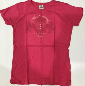 FOX Amsterdam Holland Pink T Shirt Short Sleeve Top Crew Neck Womens Size Large