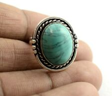 Green Turquoise Gemstone 925 Sterling Silver Plated Ethnic Adjustable Ring