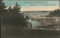 Shelburne NS Nova Scotia From Sandy Point Road c1910 Postcard rpx