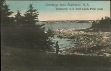 Shelburne NS Nova Scotia From Sandy Point Road c1910 Postcard rpx
