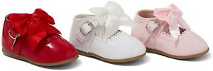 BABY GIRLS SPANISH BOW SHOES PATENT MARY JANE WHITE PINK BLACK RED PARTY UK 2-7