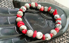 Agate empowering stone Coral Bracelet Healing  Heart Chakra  Men size 9 inches