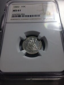 NGC Seated Dime Liberty MS 61 1882