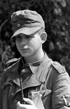 WWII B&W Photo Young German POW with Pipe Italy 1944  World War Two WW2 /2357