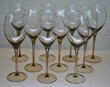 New listing Beautiful Set Of (10) Bronze Color Long Stem Wine Glasses