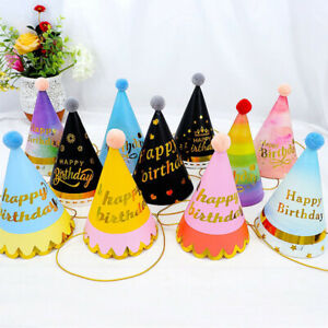 Pom Pom Ball Kids Birthday Party Hats Festival Celebration Paper Hat Table Decor