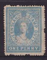 QUEENSLAND 1866 1d Blue QV LARGE CHALON STAMP DUTY USED SG F9 (KI167)