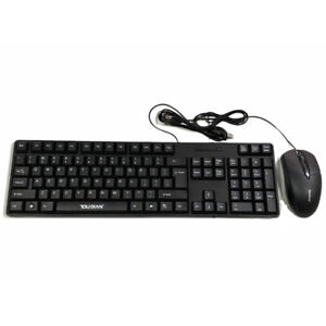 USB Wired Keyboard and Mouse UK QWERTY (Layout) Business Office Set- Black