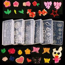 6Pcs Clear Silicone Mould 3D DIY Nail Art Flower Manicure UV GEL Acrylic Powder