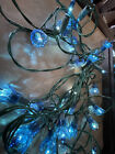 Vintage Silvestri Blue.35-Bulb. 3 sets. Blue Flower Reflectors. Green wire.